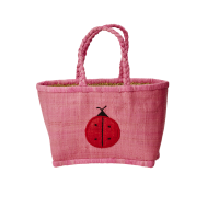 Large Pink Kids Raffia Shopping Basket By Rice DK
